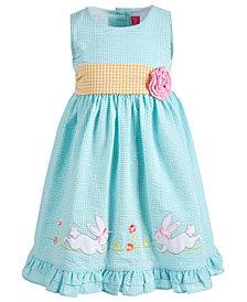 Good Lad Little Girls Colorblocked Gingham Seersucker Bunny Dress