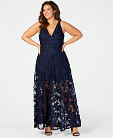 XSCAPE Plus Size Floral Gown
