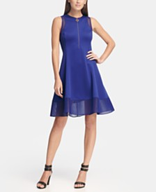 DKNY Fit and Flare Dress with Mesh Trim & Logo Zipper, Created for Macy's