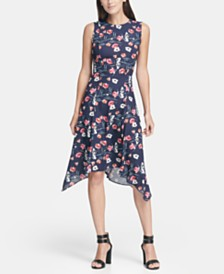 DKNY Floral Print Handkerchief Hem Dress