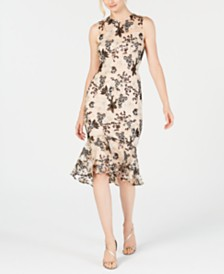 Calvin Klein Floral Embroidered Trumpet Midi Dress