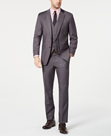 Perry Ellis Men's Portfolio Slim-Fit Stretch Gray Solid Suit Separates