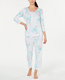 Miss Elaine Printed Top & Pajama Pants Set