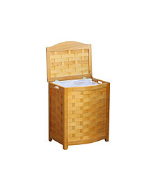 Oceanstar Bowed Front Veneer Laundry Wood Hamper with Interior Bag