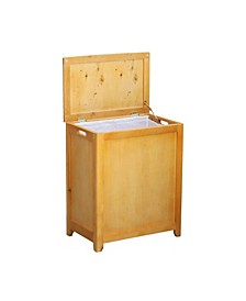Rectangular Veneer Laundry Wood Hamper with Interior Bag