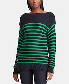 Lauren Ralph Lauren Striped Ribbed Cotton Sweater