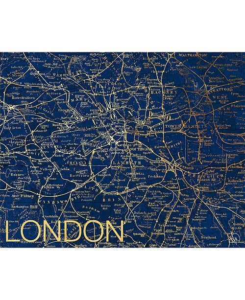 "Creative Gallery City of London Map in Midnight Blue 20"" x 24"" Metal Wall Art Print"