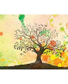 "Chartreuse Willow Tree Silhouette 16"" x 20"" Metal Wall Art Print"