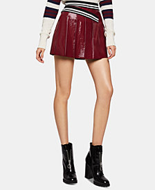 BCBGeneration Pleated Faux-Leather Mini Skirt
