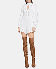 BCBGMAXAZRIA Ruffled Open-Back Romper
