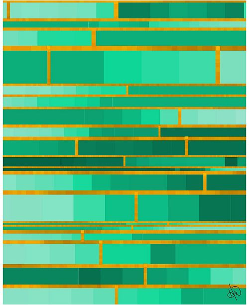 "Creative Gallery Color Palette Yellow Outline - Aqua Green Abstract 16"" x 20"" Acrylic Wall Art Print"