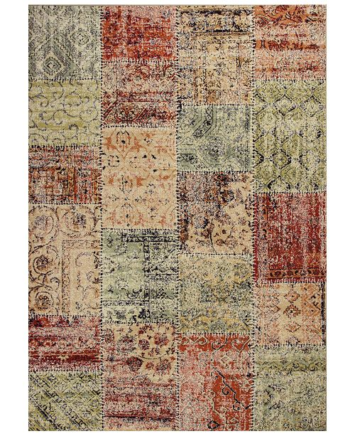 """Kas CLOSEOUT! Reflections Patchwork 7420 Multicolor 7'10"""" x 11'2"""" Area Rug"""