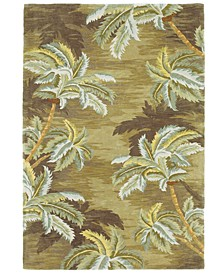 "Sparta Palm Trees 3102 Moss 5'6"" Round Area Rug"