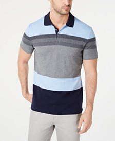 Alfani Men's Regular-Fit Colorblocked Engineered Stripe Polo, Created for Macy's