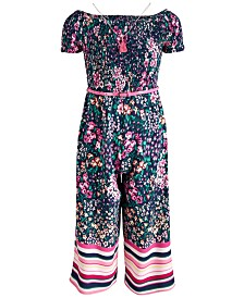 Beautees Big Girls 2-Pc. Smocked Jumpsuit & Necklace Set