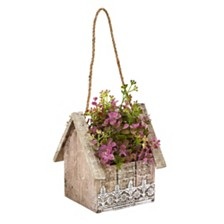 Nearly Natural Sedum and Eucalyptus Artificial Plant in Birdhouse Hanging Basket