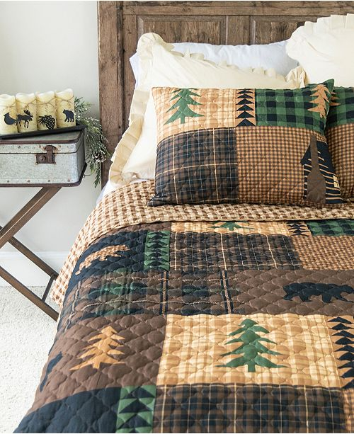 American Heritage Textiles Brown Bear Cabin Quilt Collection, Queen