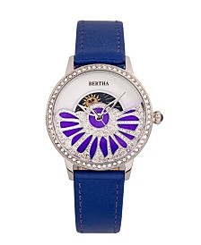 Bertha Quartz Adaline Purple Genuine Leather Watch, 37mm