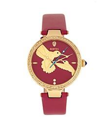 Quartz Nora Fuchsia Genuine Leather Watch, 38mm