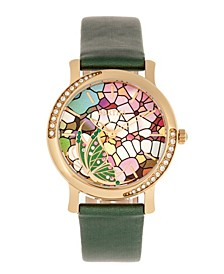 Quartz Vanessa Green Genuine Leather Watch, 36mm