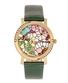 Bertha Quartz Vanessa Green Genuine Leather Watch, 36mm