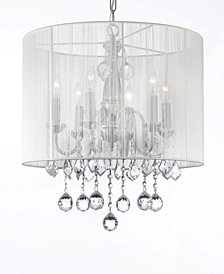 Empress Crystal 6-Light Chrome Chandelier with White Shade and Faceted Crystal Balls