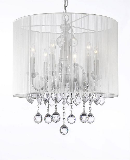 Harrison Lane Empress Crystal 6-Light Chrome Chandelier with White Shade and Faceted Crystal Balls
