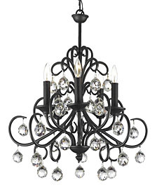 Versailles Bellora Iron and Crystal 5-Light Black Chandelier