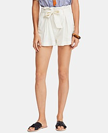 Everywhere You Go Cotton Paperbag Belted Shorts