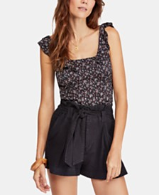 Free People Stay With You Printed Ruffled Tank Top