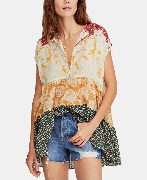 Free People Gotta Have You Cotton Mixed-Print Keyhole Top