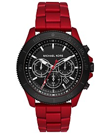 Michael Kors Men's Chronograph Theroux Red Stainless Steel Bracelet Watch 44mm
