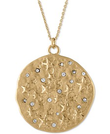 "RACHEL Rachel Roy Gold-Tone Pavé Star & Dream Reversible Pendant Necklace, 36"" + 2"" extender"