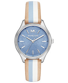 Michael Kors Women's Lexington Striped Leather Strap Watch 36mm
