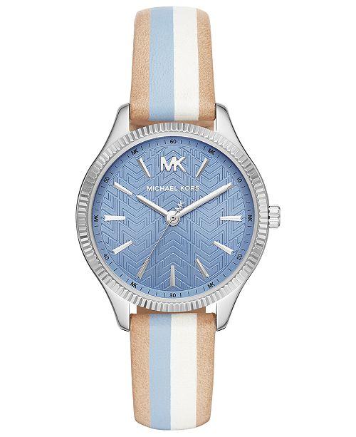 33433fe831a9 Michael Kors Women s Lexington Striped Leather Strap Watch 36mm ...