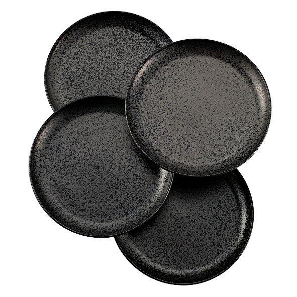 Over and Back Noir Dinner Plates - Set Of 4