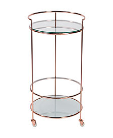 Roberta-Hr Rolling Cart in Frosted Tempered Glass with Chrome Frame