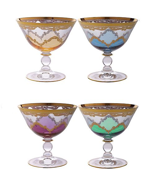 Classic Touch Dessert Cups with 24K Diamond Cuts Design, Set of 4