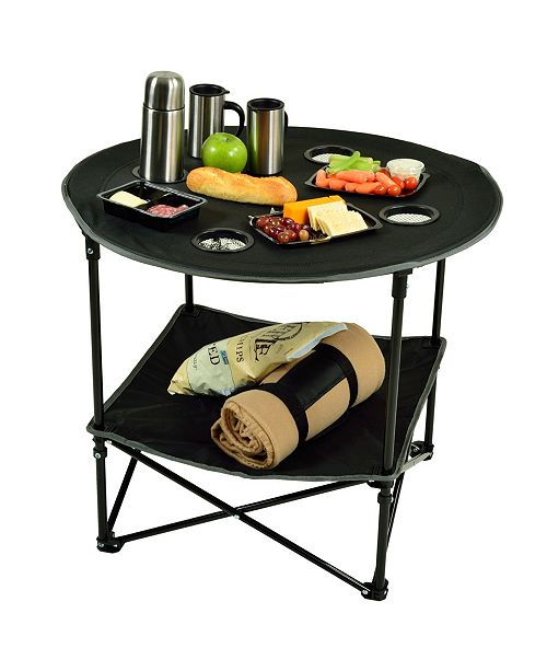 Picnic At Ascot Canvas Folding Table and Carrier for Picnic, Travel, Tailgating