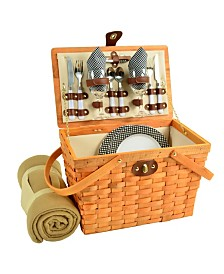 Picnic at Ascot Frisco Traditional American Style Picnic Basket, Blanket for 2