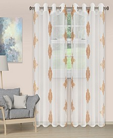 "Lightweight Damask Sheer Curtain Panels, Set of 2, 52"" x 108"""