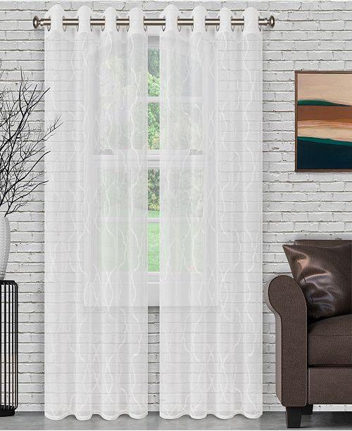 "Superior Lightweight Lattice Sheer Curtain Panels, Set of 2, 52"" x 108"""