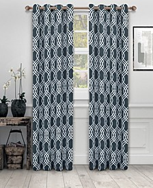 "Soft Quality Woven, Ribbon Collection Blackout Thermal Grommet Curtain Panel Pair, Set of 2, 52"" x 96"""