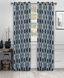 "Superior Soft Quality Woven, Ribbon Collection Blackout Thermal Grommet Curtain Panel Pair, Set of 2, 52"" x 96"""