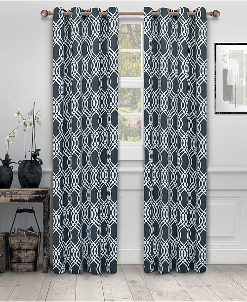 """Superior Soft Quality Woven, Ribbon Collection Blackout Thermal Grommet Curtain Panel Pair, Set of 2, 52"""" x 96"""""""