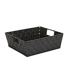 Medium Woven Storage Shelf Bin in Gray