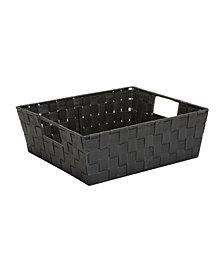 Simplify Medium Woven Storage Shelf Bin in Gray