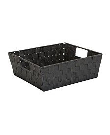 Simplify Medium Woven Storage Shelf Bin in Gray