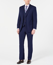 Perry Ellis Men's Portfolio Slim-Fit Stretch Navy Solid Suit Separates
