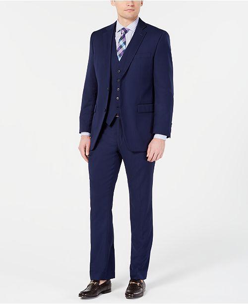 Perry Ellis Men's Portfolio Slim-Fit Stretch Navy Solid Suit Separates